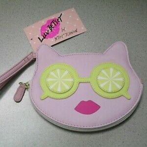 Luv Betsey Johnson Cat Coin Purse Wristlet Wallet